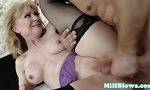 Cougar fingered with an increment of pussyfucked by firm jaws