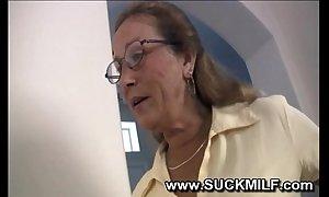 Horn-mad cougar granny sucks young toff