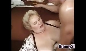 Heavy with an increment of busty granny enjoying a dong