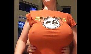 Yo-yo with generous tits orange shirt