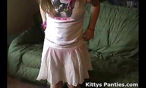 Microscopic teen kitty here a cute little pink skirt
