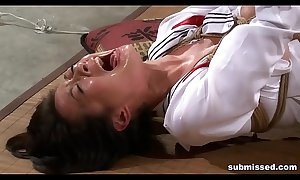 Asian lackey is hogtied, electro torturous with the addition of fake penis punished