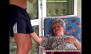 Granny Period vanguard sucking hard young dick