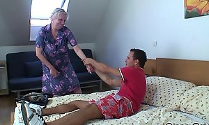Tow-haired superannuated granny is wean away from in serious trouble drilled