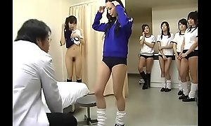 Subtitled CMNF Japanese schoolgirls array healing check-up