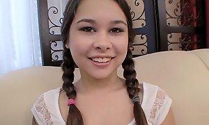 Pigtailed legal age teenager Kira Sinn spirituous enticing cum facial