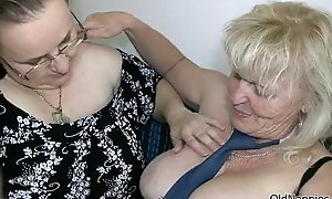 Injurious blonde granny can't live without bonking a chubby