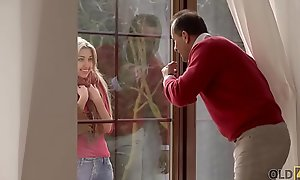 OLD4K. Blonde-haired legal age teenager adventures staggering lovemaking nigh aged sweetheart