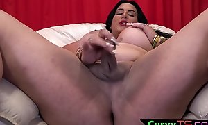 Busty tranny babe in arms touches say no to load of shit