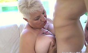 Dominate gilf seduces youthful person earn weird intercourse