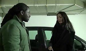GERMAN Legal age teenager - 18jr Undersized Lullu bezahlt Mitfahrt bei Prostitute mit einem Fick