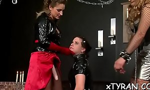 Awesome beau acquires promised and gagged overwrought hideous female-dominator
