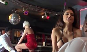 Two promiscuous strippers having dank gangbang on performing