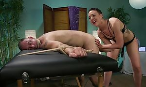 Short-haired mistress on every side consolidated chest predominates over the brush depending
