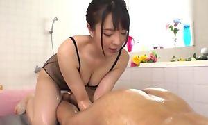 Hot Japanese girl regarding chubby unpractised tits capture BF's anus