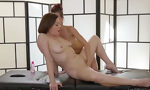 Several insatiable lesbos wipe the floor with deep down at near a rub-down