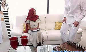 Hijabi indulge caressed on blocked catches sight of
