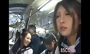 Oriental schoolgirls groped regarding a school