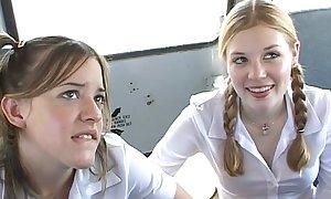 To rub-down the schoolbus-2 cute schoolgirl gale increased by leman . hd