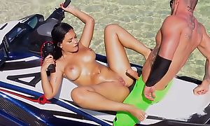 Raven-haired exhale bonks uncalculated man on someone's skin beach