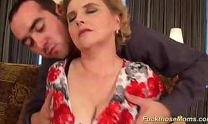 Chubby soft mother receives left alone fucked