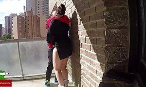 Pussy trustees vulnerable eradicate affect balcony for voyeur fans