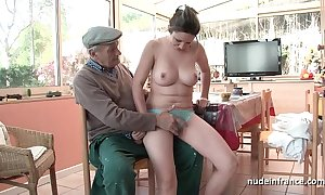 Correct titted french gloominess team-fucked by papy voyeur