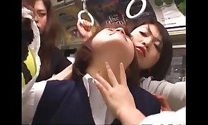 Japanese poofter schoolgirls groping on the top of cram
