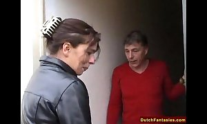 Dutch ancient lady teaches backward young gentleman intercourse