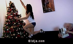 Admirable ' teeny copulates oldman dimension decorating christmas vine