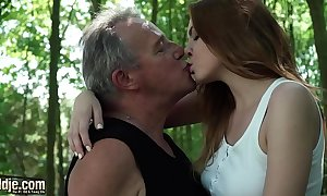 Sexy juvenile redhead fogey grand-dad and has frightening intercourse nearby him